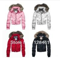 ree shipping 2013 winter down jackets for women, the female lady fur hoodies zipper botton ribbed short jacket outwear coats