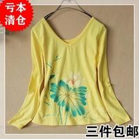 Chinese style ink deep v neck slim after o-neck t-shirt long-sleeve basic shirt clothing