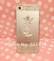 Wholesale10pcs/lot Luxury 3D Bling Crystal Diamond DIY Clear Hard Back Cover Case For iphone5 5s For iphone4 4s Free Shipping