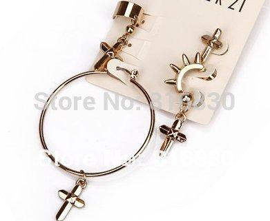 2013 New (MIN ORDER $9.9)Free Shipping Gold Asymmetrical Cross Rivet Hoop Dangle Earring Clip Set Christmas Gift