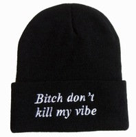 bitch don't kill my vibe Beanies hats LA logo fashion mens women exclusive winter knitted caps Free shipping