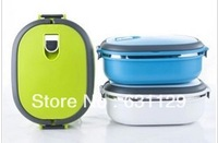 Free Shipping Stainless Steel Lunch Box with handle Thermos Food Container Tableware Dinnerware Sets 900ML