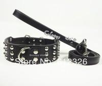 2inch Blue,Black,Pink,White PU Leather Mushroom Studded Dog Collar&Leash Lead Set Pitbull Mastiff Free shipping