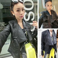Princess autumn fashion large lapel slim zipper motorcycle leather clothing 513--d01
