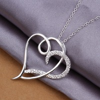 Wholesale Sterling Silver 925,Silver Plated Fashion Jewelry Double Heart Necklace Set Zircon Classic Silver Plated Necklace N368