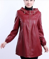 Plus size 5XL leather jacket women 2013 autumn and winter leather long clothing with a hood cotton leather ladies black jackets