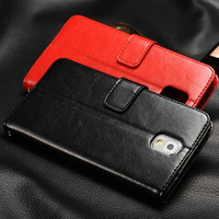 Fashion Leather case for Galaxy Note3 Original Gsource crazy horse leather wallet for samsung N9000+ screen protector