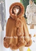 "90cm cashmere cape with 4"" twist  fox fur trim  with hood"