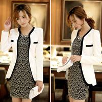 White Black Colors Fashion New Slim Ladies Womens Suit Coat Blazer Jacket Button Free shipping