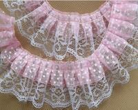 Wholesale lot  pink polka ruffled ribbon/Lace trim , DIY craft 5cm