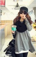 Women Fashion Round Neck Full Sleeve Solid Loose Asymmetrical Hem Tops Long T-shirt Free Shipping A412-B-8381