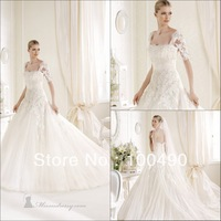 13802 Short Sleeved Wedding dresses short sleeve Lace Gown with jacket 2014