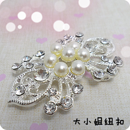 Button buttons white pearl rhinestone buckle hasp overcoat fur marten velvet mink buckle(China (Mainland))