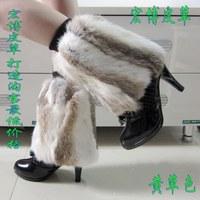 Free Shipping, 30cm Cheap multisizes 100% Rabbit Fur Dense Leg Warmers Boot Covers Sleeve, grey, brown, black
