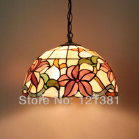 """12""""W Floral Design Tiffany Pendant Lamp Stained Glass Lampshade Handed Crafted Hanging Lights Classical Design Leaded Bedroom"""