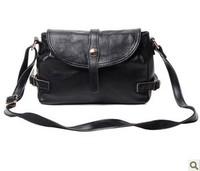 2013 new European and American black genuiue leather handbag / diagonal retro bag / Shoulder Messenger Bag