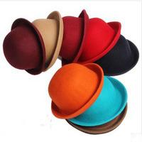 Vintage Women Men Woolen Roll Brim Bowler Hats Unisex Billycock Classic Great Britain style wool Dome fedoras Jazz hat
