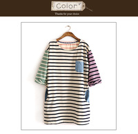 Free  shipping Ms clothes long T stripe pocket color matching of high quality fashion 2 colors one size