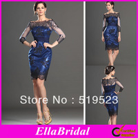 New Arrival Blue Satin Sheath Knee Length Off the Shoulder Long Sleeves Cocktail Dresses Gown with Black Appliques