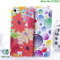 Free Shipping 10pcs/lot Rain Drop Clear Flower Pattern Hard Case Cover For iphone 5 5s 5g Cases