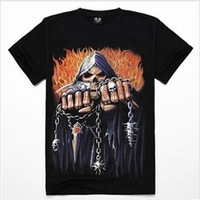 Free shipping promotion high quality cotton men's summer t-shirts rock style 3d print skull t-shirts Personality Short sleeve