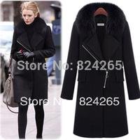 2014 Hot Sale Rushed Casacos Femininos Women Coat Autumn And Winter Women Large Fox Cashmere Overcoat Plus Size Outerwear Female