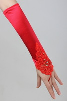 Clothing red lace bride satin decoration lucy refers to wedding fingerless gloves