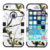Free Shipping New  Fashion Case White Realtree Camo 2IN1 Combo Snap On Case for IP 5