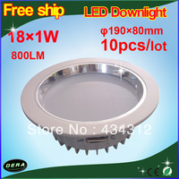 10pcs/lot 18W LED Downlight Recessed Ceiling Lamp CREE 800LM AC100V-240V Include Driver Free Shipping