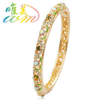 Beijing cloisonne bracelet female fashion vintage national trend gold plated cutout crystal jewelry