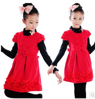 Free shipping Child one-piece dress female child princess dress fashion girls red tank dress