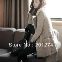 2014 new arrival real long double breasted coats sobretudo fashion autumn and winter medium-long blend coat female outerwear