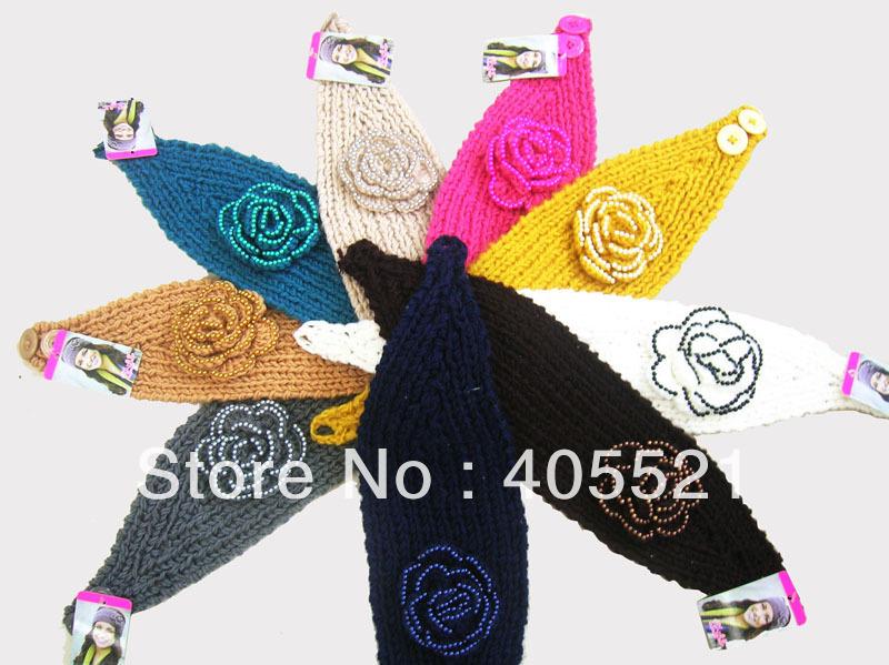 Fashion Handmade headband with Pearl flower Knit Headwrap crochet beaded Headbands headwear(China (Mainland))