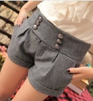 2013 Autumn new Korean double-breasted waist leggings was thin woolen winter boots pants shorts z