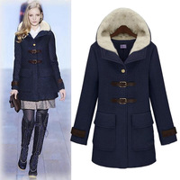 Stunning! 2013 slim fashion  winter clothes,  women's  medium-long hooded woolen outerwear woolen overcoat trench free shipping