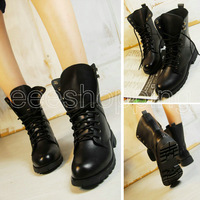 O062 Womens Ladies New Fashion Round Toe Cool Ankle Short Army Boots Flat Winter Autumn Shoes Lace-up Black PU Leather Antislip