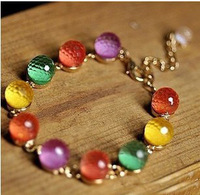 Accessories vintage candy color crystal beads bracelet jewelry