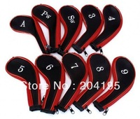 Wholesale - Golf irons head covers with zip 25sets/lot (10pcs/set) High quality headcovers freeshipping
