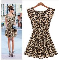 Free Shipping!! New 2013 Women One Piece Dress Leopard Print Casual Microfiber Sundress Big size M L XL