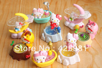 Free Shipping 8Pcs/Lot Hello Kitty Figure Toy Plastic Cartoon Toy Desk Decoration