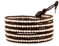 Free Shipping 2013 New Fashion Sterling Silver Wrap Bracelet on Brown Leather Classical Natural Turquoise Beads Bracelets