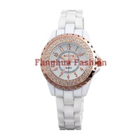 2013 hot selling white ceramic watch free shipping
