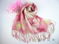 Fresh young girl pink flower print linen cape scarf female and female spring summer scarf silk scarf cape