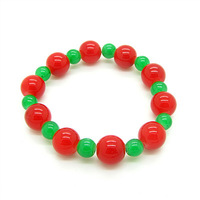 6pcs 6mm&12mm Ball Round Bead Bracelet Elastic Cord Bracelets Red Green Glass Bead Free Shipping HC176