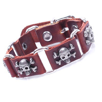 Min.order 10$(mix order)Bracelets & Bangles rock Skull Nail Bracelet Genuine Leather Bracelet Men Jewelry Retro Bracelet Men