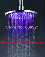 Freeshipping BRASS New LED Light Round Rain Shower Head Bathroom Bath Glow 3 Colors LE-5101