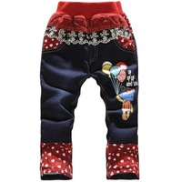 Retail-1pcs Free Shipping 2013 trousers girl cartoon with flannel trousers love kids plus velvet thickening female child jeans
