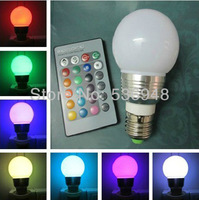 3W E27 RGB LED 16 Changeable Colors Light Lamp Bulb 85-265V with Remote Control free shpping