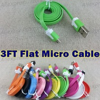 Free Shipping 1M 3FT colorful Noodle flat V8 micro usb data charger cable for Samsung for htc for nokia