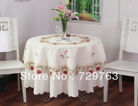 European Lace Embroidered Tablecloths Round Tea Table Cloth Cover Tablecloth Home Decor Diameter 150cm